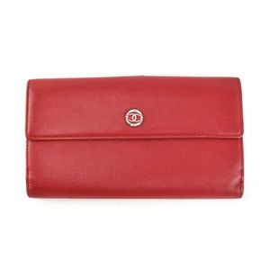 "CHANEL: Red, Leather & ""CC"" Logo Long Wallet (np)"